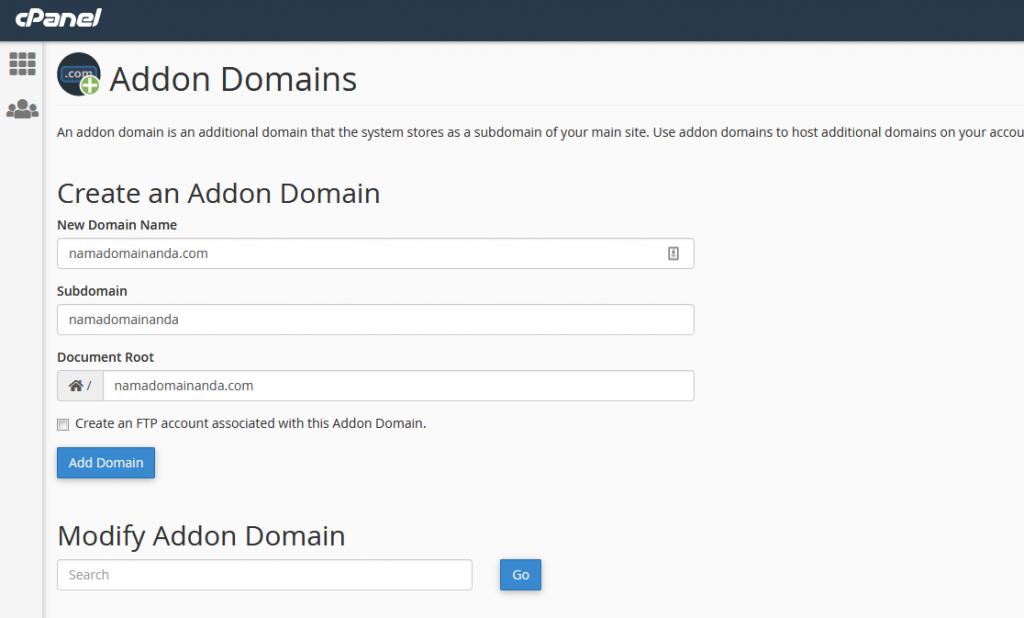 cara addon domain di hosting hoster